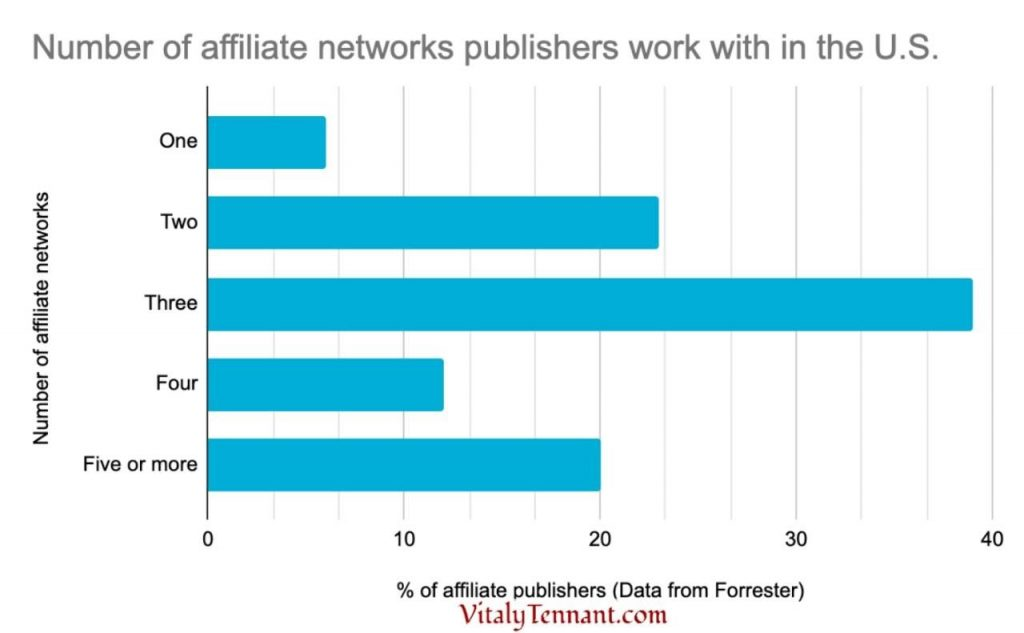 Number of affiliate networks publishers work with in the U.S. via vitalytennant.com