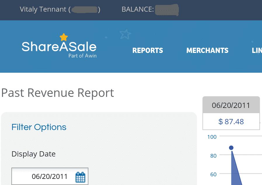 ShareASale dashboard via Vitaly Tennant