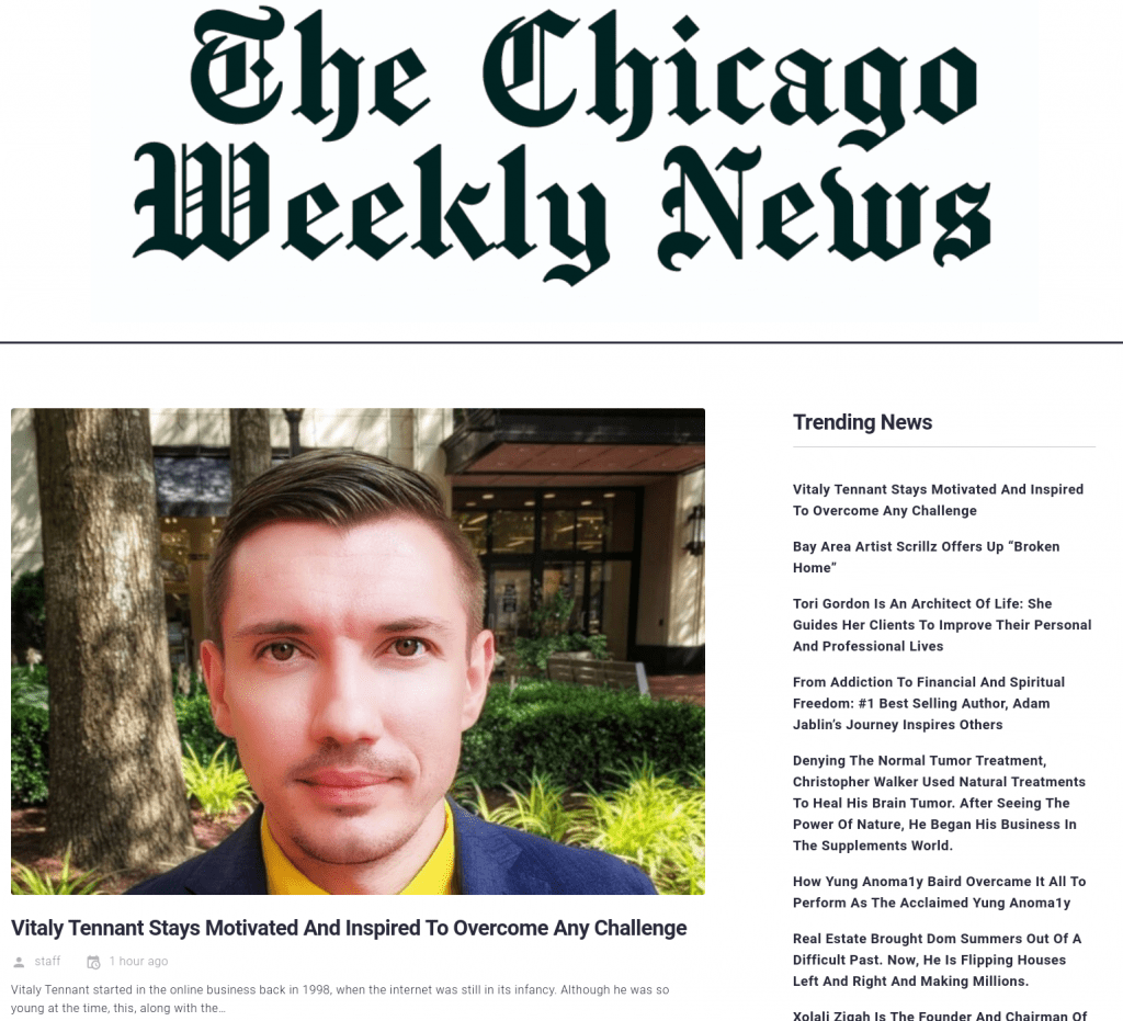 vitaly tennant, the chicago weekly news, vitalytennant.com, front page
